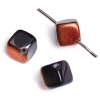 Glass Bead Cubes 8mm Copper/Jet With Diagonal Hole - Strung
